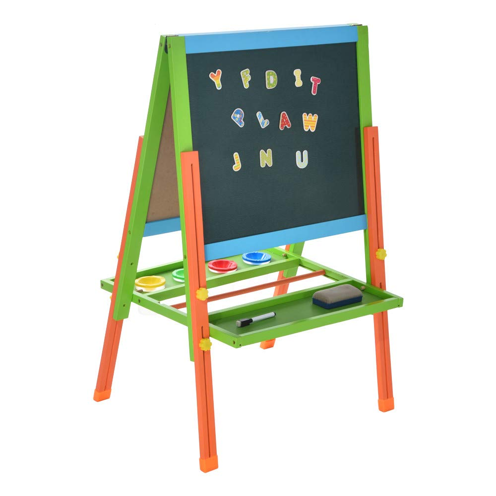 Art Easel Board,salaheiyodd Kid's Wooden Easel Multifunctional Double Sided Black/White Wooden Easel with Alphanumeric Magnet,Adjustable Height Design, for Children of All Ages