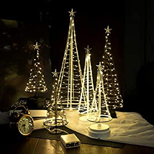 HONESTY Metallic Lamp,Lovely Little Tree Lights,Trees with Flat Plate and Battery House Outside for Indoor, Warm White LEDs on Copper Wire 3