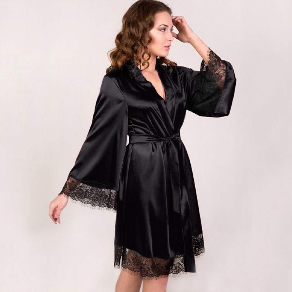 Pervobs Women Sleepwear Lingerie Sexy Soft Lace Temptation Belt Underwear Nightdress(S, Black) by Pervobs Tunics (Image #2)