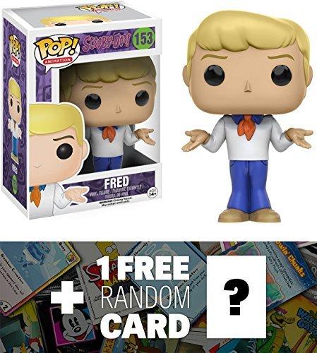 Scooby-Doo Fred: Funko POP! x Vinyl Figure + 1 FREE American Cartoon Themed Trading Card Bundle (094287) ()