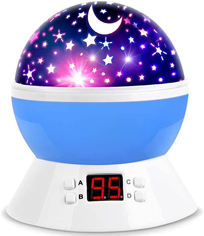 Amazon.com: MOKOQI Star Projector Night Lights for Kids with Timer, Gifts for 1 - 14 Year Old Girl and Boy, Room Lights for Kids Glow in The Dark Stars and Moon can Make Child Sleep Peacefully and Best Gift-Blue: Home & Kitchen