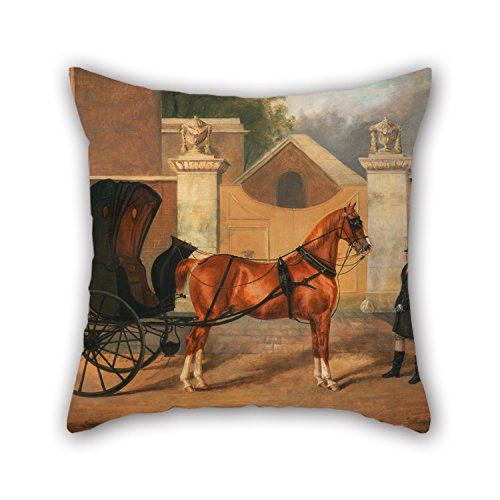 Oil Painting Charles Hancock - Gentlemen's Carriages- A Cabriolet Pillow Cases ,best For Dining Room,drawing Room,bench,boys,bar,floor 18 X 18 Inches / 45 By 45 Cm(2 Sides)
