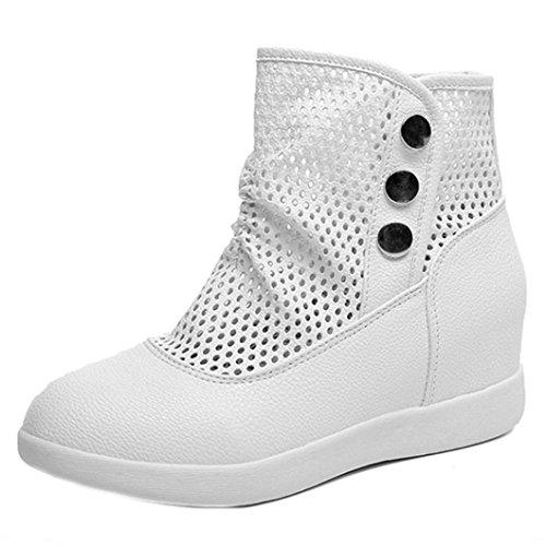 TPulling Mode Stylische Hohle atmungsaktive Frauen Stiefel Freizeit wild In Der Zunahme Schuhe Weiß