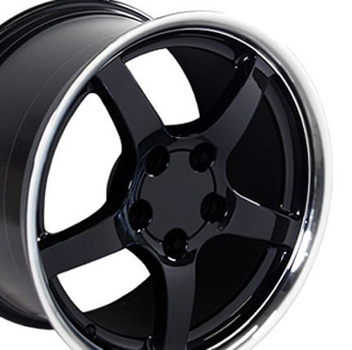 - OE Wheels 17 Inch Fits Chevy Camaro Corvette Pontiac Firebird C5 Deep Dish Style CV05 Black with Machined Lip 17x9.5 Rim Hollander 5122