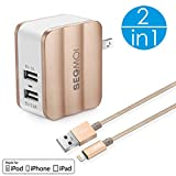 2in1 SEGMOI [Apple MFi Certified] 3Ft/1M Lightning Braided Cable + 3.4A Fast Charging Foldable Dual USB Wall Adapter Travel Charger for iPhone X 8 8Plus 7 7 Plus 5S SE 6 6S 6Plus iPad (Wall Kit-Gold)