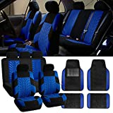 FH-FB071115 Complete Set Travel Master Seat Covers Airbag Ready & Rear Split with F14407 Premium Carpet Floor Mats Blue/ Black- Fit Most Car