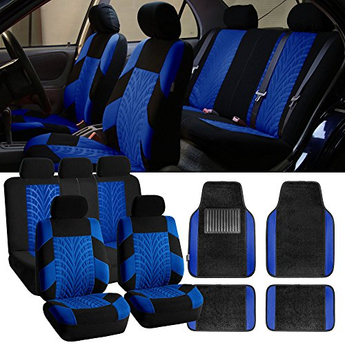 (FH-FB071115 Complete Set Travel Master Seat Covers Airbag Ready & Rear Split with F14407 Premium Carpet Floor Mats Blue/ Black- Fit Most Car, Truck, Suv, or Van)