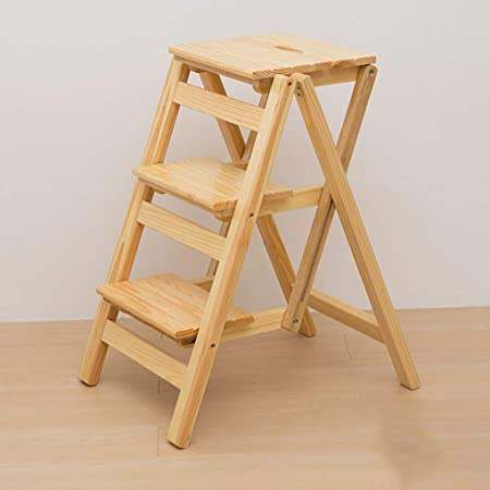 Escalera Taburete Plegable de Madera Maciza de 3 Capas, Sillas Simples para el hogar Escalera de Tijera Moderna Escalera de Ahorro de Espacio Escalera de Taburete para el hogar Cocina,D: Amazon.es: Hogar