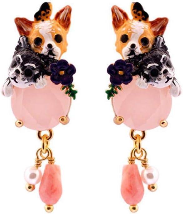 TYERY Pendientes Personalizados Personalizados para el Anillo Del Oído Pendientes de Esmalte Esmalte Rosa Pendientes de Mariposa con Piedras Preciosas Tamaño: 3.5 * 1.3 cm
