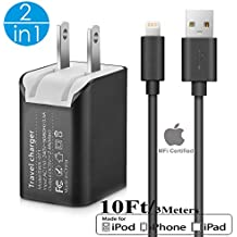 2in1 SEGMOI [Apple MFi Certified] 3Meters/10Ft Lightning to USB Charging Cable + Dual USB Wall Charger with Foldable Plug Travel Adapter For iPhone X 8 7 7 Plus 6 6S 5 5S SE iPad Air Pro mini (Black)