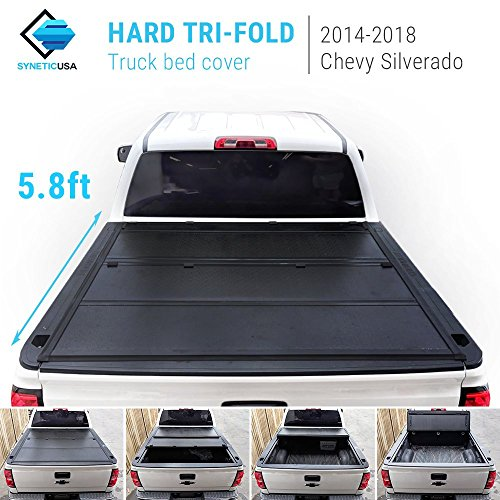 Syneticusa 2014-2018 Silverado/Sierra New 2nd Generation Lock Hard Solid Tri-Fold Tonneau Cover Truck Cargo Bed Cover (5.8ft Short Bed) ()
