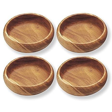 Set de 4, Cuenco de ensalada de madera tamaño diámetro 4 cm, fabricado en Tailandia: Amazon.es: Hogar