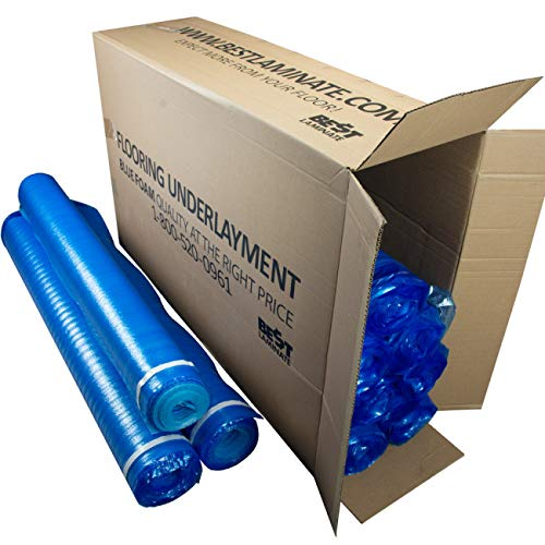 3in1 Blue Vapor Barrier Flooring Underlayment w/Overlap and Tape - Bestlaminate - 2mm - 1,000sf Bundle (10rolls @ 100 sf)