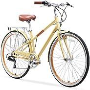 sixthreezero Reach Your Destination Women's Hybrid Bike with Rear Rack, 28 Inches, 7-S