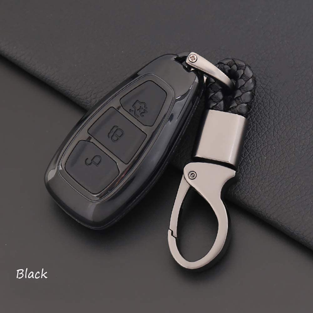 Blue ontto Fit for Ford Carbon Fiber Smart Key Cover Case Key Shell Remote Key Box Key Chain Key Ring Prevent Scratch and Falling Fits Ford Mondeo Focus 3 MK3 ST Kuga Titanium