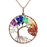 Uniki Tree of Life Pendant Amethyst Rose Peridot Chakra Crystal Necklace Gemstone Jewelry Great Gifts