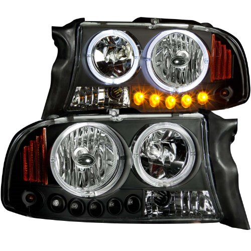 Anzo USA 111194 Black Halo Projector Headlights with Amber Reflector for Dodge Dakota/Duranngo - Crystal Headlights Anzo 98