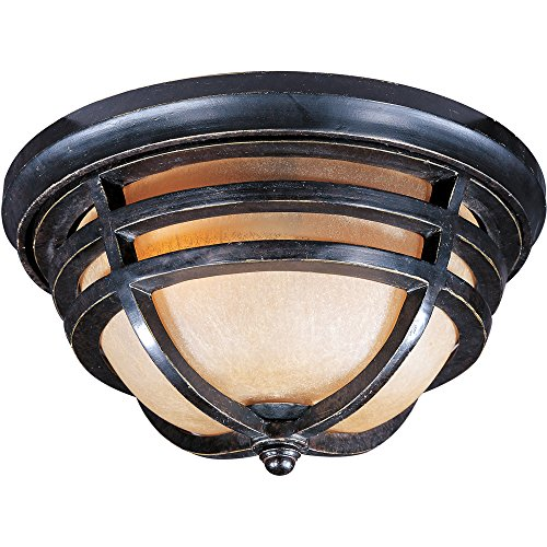 Maxim 40109MCAT Westport 2-Light Outdoor Ceiling Mount, Artesian Bronze Finish, Mocha Cloud Glass, MB Incandescent Incandescent Bulb , 60W Max., Dry Safety Rating, Standard Dimmable, Glass Shade Material, Rated -