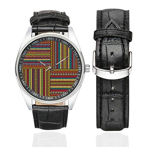 "African Casual Leather Strap Watch,Set of Ethnic Borders Pattern Old Fashioned Ancient Culture Colorful Artful Print Decorative for Men,Case Diameter:1.57"" from C COABALLA"
