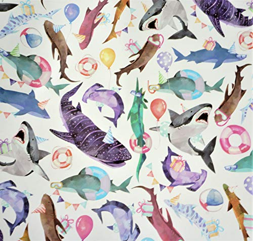 Shark Party Gift Wrapping Paper Roll - 24