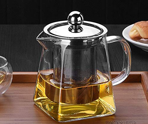 Tea Strainers Tea Set Glass With Stainless Steel Infuser Filter Press tea Pot 450/550/750/950ML tea infusers by TXT (Image #1)