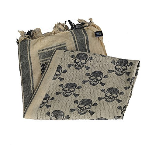 Shemagh - Military Army Tactical - Desert Head Scarf - Neck Wrap (Tan/Black)