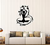 BorisMotley Wall Decal Meditation Floral Art Yoga Vinyl Removable Mural Art Decoration Stickers for Home Bedroom Nursery Living Room Kitchen