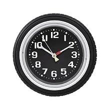 "StealStreet SS-KD-608 Tire Wall Clock Decoration Accurate Quartz, 10"", Black"