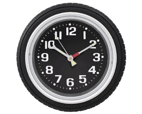 StealStreet SS-KD-608 Tire Wall Clock Decoration Accurate Quartz, 10, Black