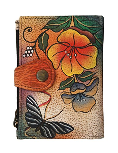 Painted Hand Leather Wallet Flower (Anna by Anuschka Hand Painted Leather Ladies Wallet | Wild Flower)