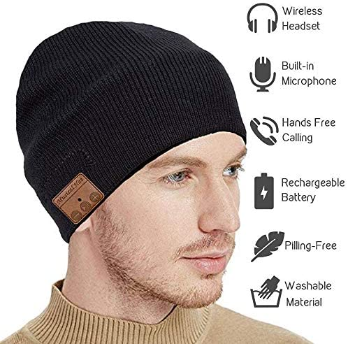 seenlast Upgraded Bluetooth Beanie Hat Headphones Wireless Headset Winter Music Speaker Hat Knit Running Cap with Stereo Speakers Mic Unique Christmas Tech Gifts for Women Men Black-a