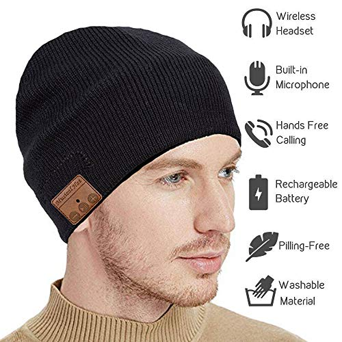 Upgraded Bluetooth Beanie Hat Headphones Wireless V5.0 Connection Siri Voice Control Knit Music Headset with HD Stereo Speakers Microphone for Winter Fitness, Women Men Black