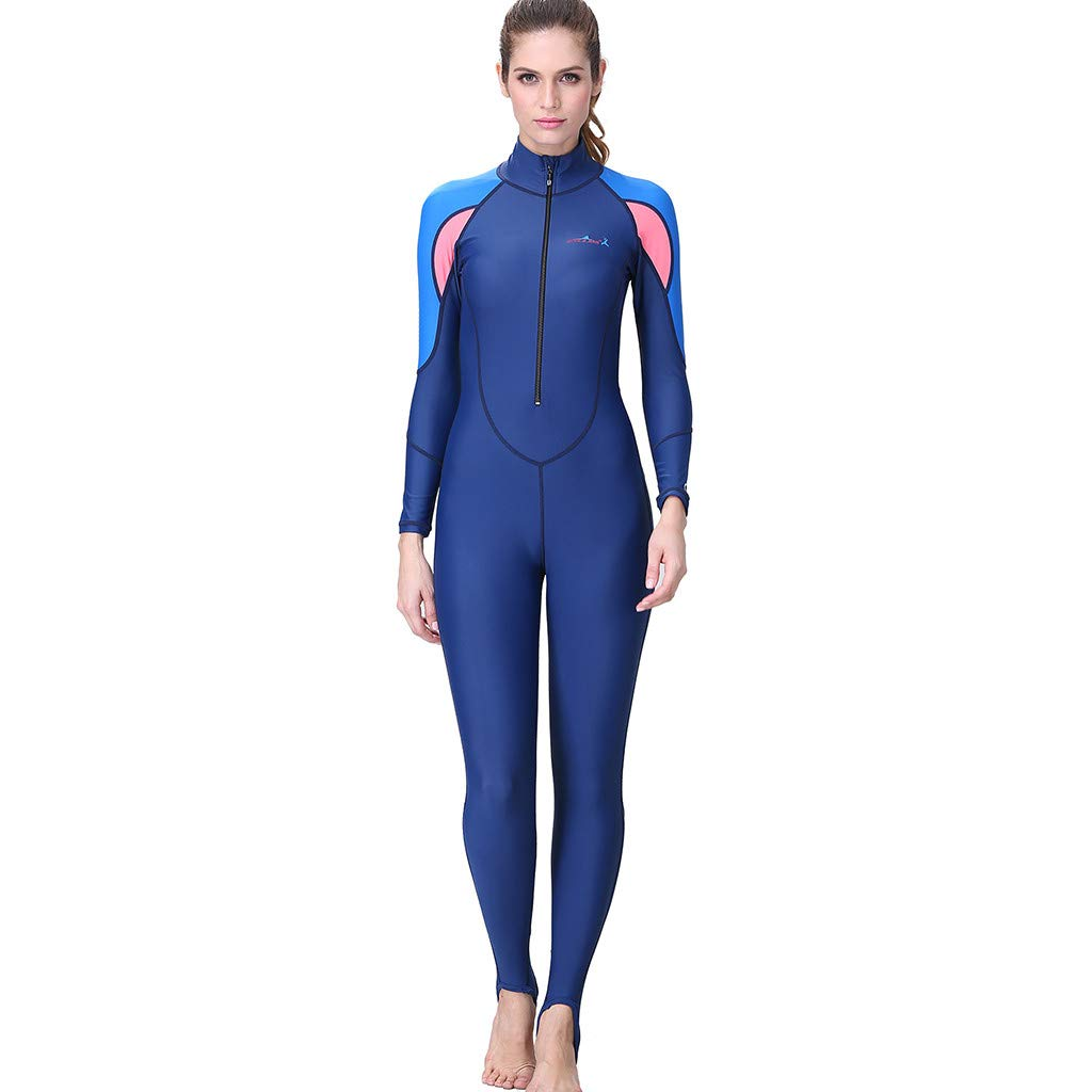 Allywit Women Snorkeling Surfing Scuba Diving One-Piece Full Body Wetsuit Swimsuit Blue