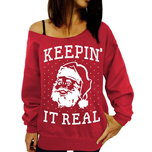 Fanxis Women Santa Claus Long Sleeve Pullover T-Shirt