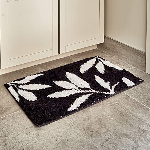 InterDesign Microfiber Leaves Accent Shower Rug, Bath Mat for Master, Guest, Kids' Bathroom, Entryway, 34