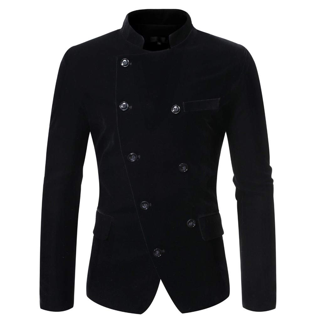 VZEXA Mens Suit Double-Breasted Stand Collar Blazer Business Wedding Party Outwear Black by VZEXA