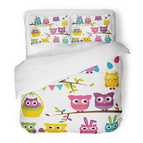 SanChic Duvet Cover Set Candy Collection Easter Spring Owls