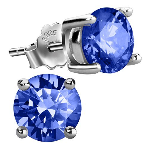 Sterling Silver Stud Earrings for Girls Cubic Zirconia Studs Simulated Birthstone Earrings for Women