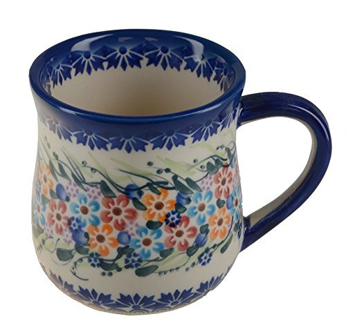 Hand Painted Ceramic Mug - BCV Classic Boleslawiec, Polish Pottery, Hand Painted Stoneware, Ceramic Mug 12 ounces, 053-U-008