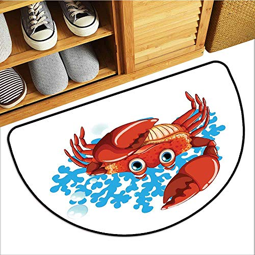 Pet Door mat Crabs Cartoon Style Aquatic Animal with Blue Coral Reef in The Back Marine Mascot Super Absorbent mud W31 xL20 Red Blue Pale Orange