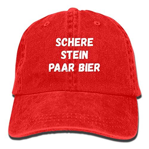 poopmick Spruch Stein Schere Paar Bier Schwarz Denim Cap Cowboy Hat Polo Style Baseball Cap for Men & Women (Denim Schwarz)