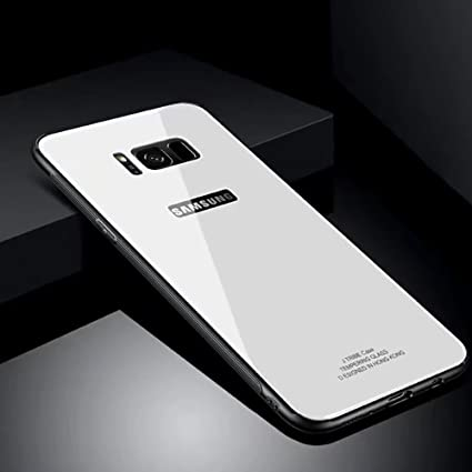 detailed look 9ef2c 52497 Hard Rigid Tempered Glass Back Cover for Samsung Galaxy S8 Plus, Aearl Pure  Color Crystal Clear Rear Back Glass Plastic TPU Silicone Bumper Case with  ...