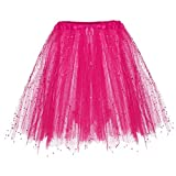 4Clovers Women's Fluffy Tulle Pleated Tutu Skirt Princess Ballet Dance Pettiskirt Tiered Puffy Squin Party Mini Skirt Hot Pink