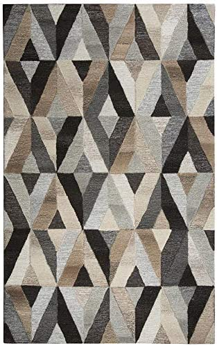 Rizzy Home Suffolk Collection Wool Area Rug, 8 x 10 , Gray Natural Geometric