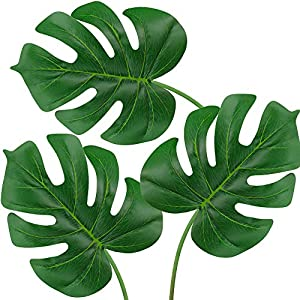 "Supla 3 Pcs Artificial Tropical plant Leaf Split Leaf Philodendron Fake Palm Leaves in Green Vine leaf Stem Artificial Monstera deliciosa leave stem 22.8"" Tall 24"