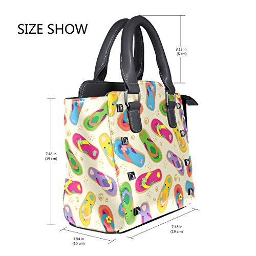 Handle PU Handbags Colorful TIZORAX Shoulder Top Leather Bags Flops Flip Women's qATx8UFw