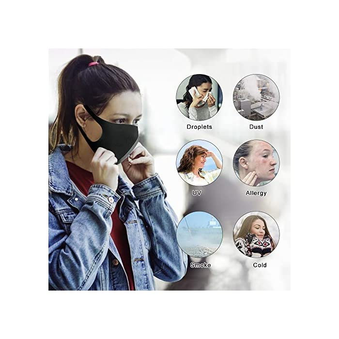 51RES%2BF40QL 【Material permeable】: Hecho de poliuretano de alta calidad, transpirable, a prueba de viento, absorbe el sudor, cómodo y agradable para la piel. 【Adecuado para casi todo el mundo】: lo suficientemente ancho como para cubrir la nariz, la boca y la cara. Los materiales suaves y cómodos no dejan marcas en el rostro cuando se quitan. 【Uso versátil】: mantiene el polvo alejado hasta en un 99%; filtra eficazmente el polvo, el polen, el humo y para pintar, correr, andar en bicicleta, practicar deportes, hacer senderismo y otras actividades al aire libre.