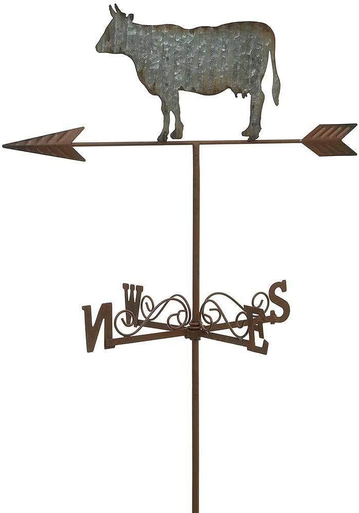 zeitzone Gartenstecker Kuh Wetterfahne Eisen Zink Windspiel Gartenstab 110cm