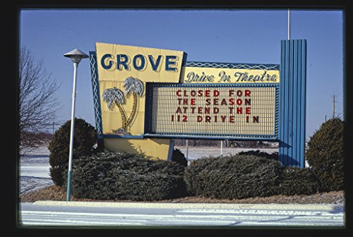 16 x 24 Gallery Wrapped Framed Art Canvas Print of Grove Drive-in Theater Sign, Route 71, Springdale, Arkansas 1984 Roadside Americana Ready to Hang ()