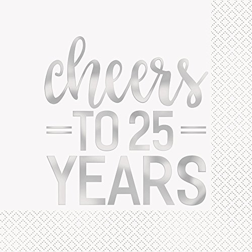 25th Anniversary 'Cheers to 25 Years' Lunch Napkins 6.5